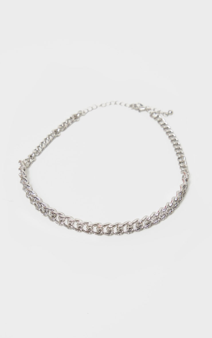 Silver Pave Solid Link Chain Choker 4