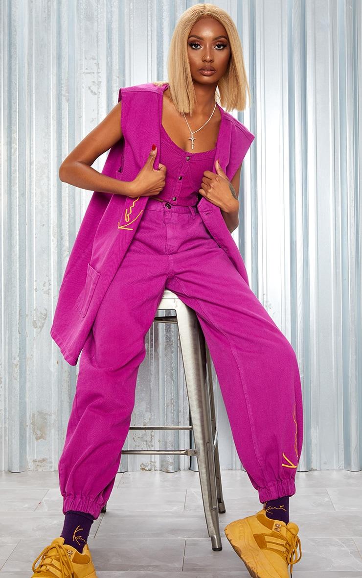 KARL KANI Purple Oversized Sleeveless Denim Jacket 6