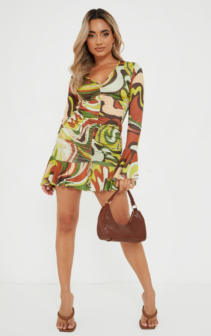 Petite Brown Slinky Ruched Front Flare Sleeve Bodycon Dress 3
