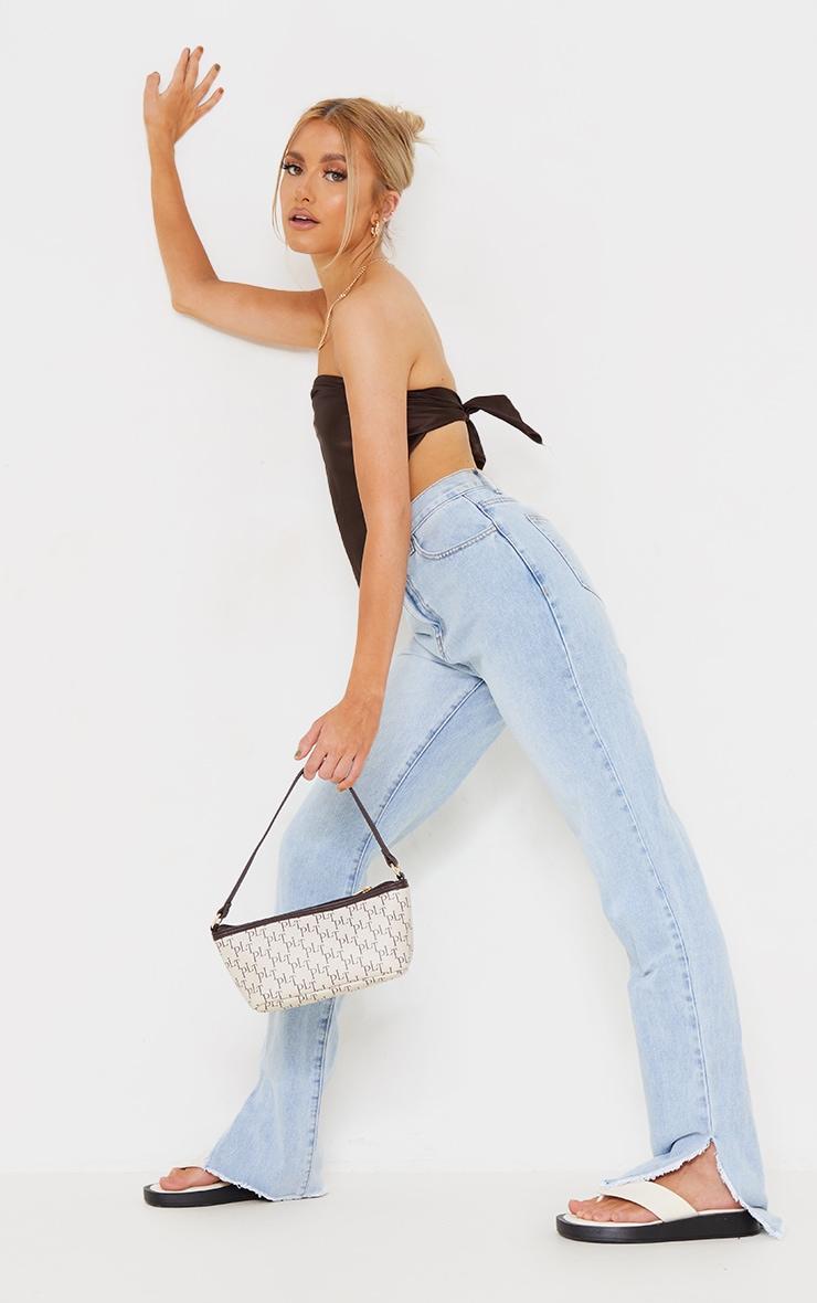 Light Blue Wash Raw Split Hem Straight Leg Jeans 1