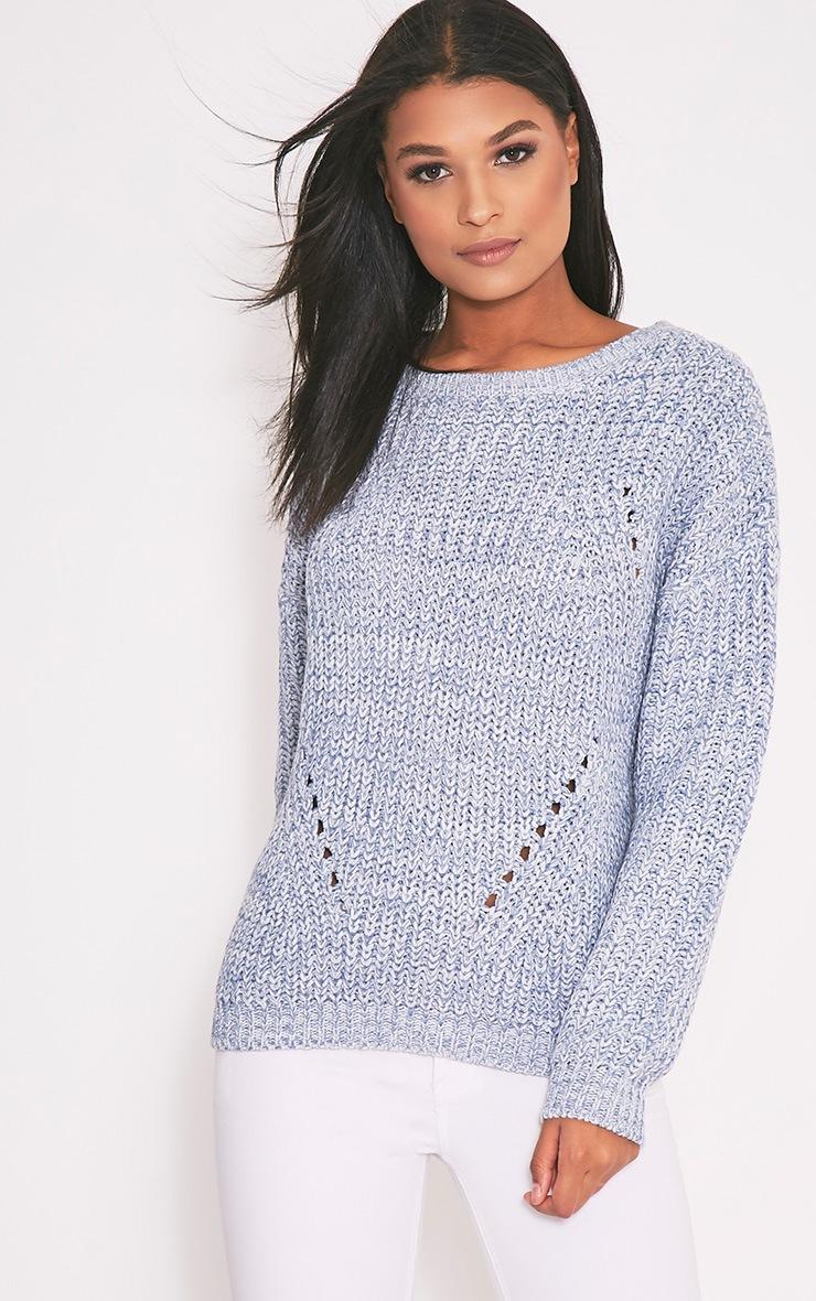 Pauline Blue Scoop Neck Knitted Jumper 1