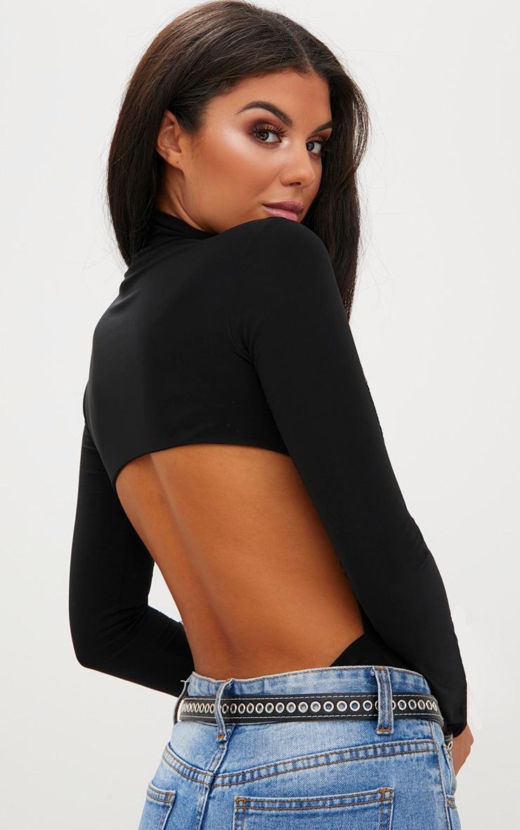 Black Slinky Backless Longsleeve Thong Bodysuit 1