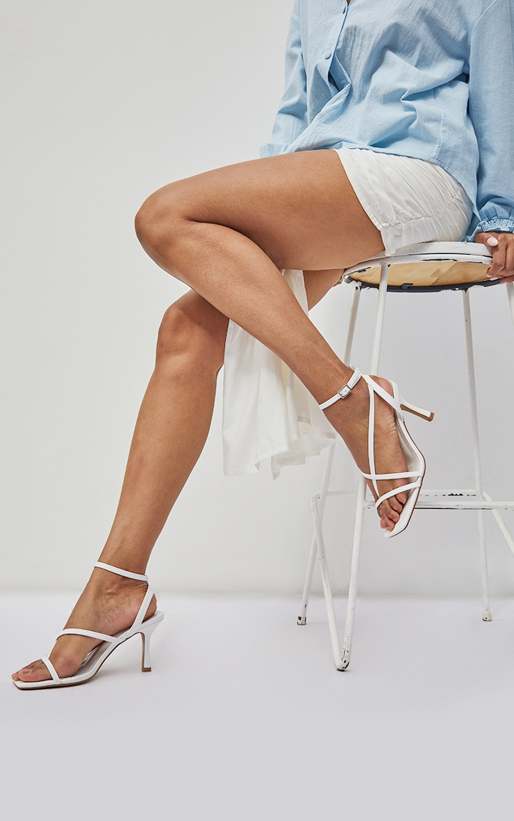 White Wide Fit PU  Multi Strap Low Heeled Sandals 1