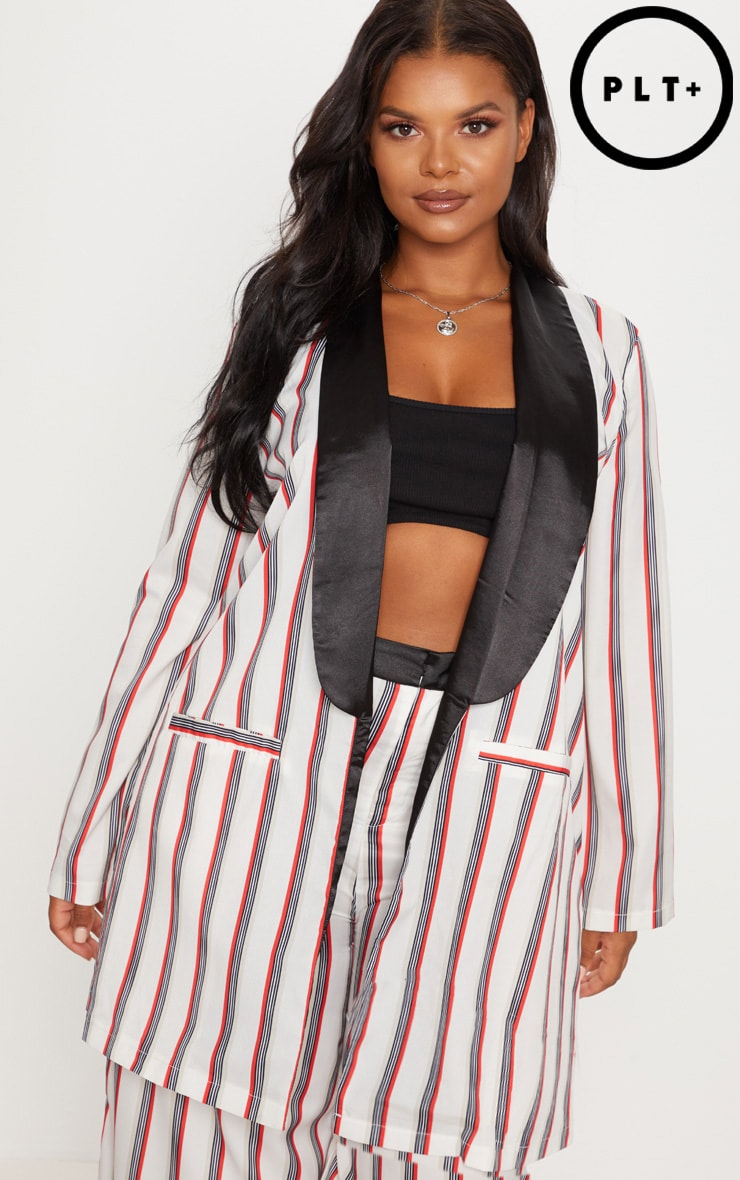 Plus Multi Stripe Longline Blazer