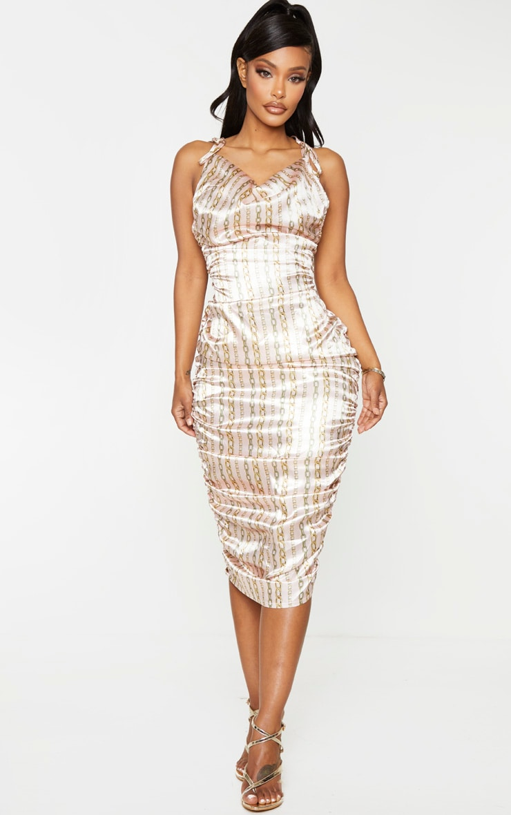 Shape Gold Satin Chain Print Halterneck Ruched Midi Dress 3