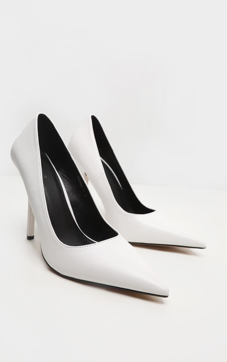 White Square Heel Court Shoe 3