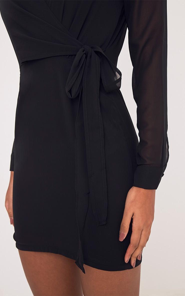 Dory robe droite noire en mousseline à lien à nouer à la taille 6