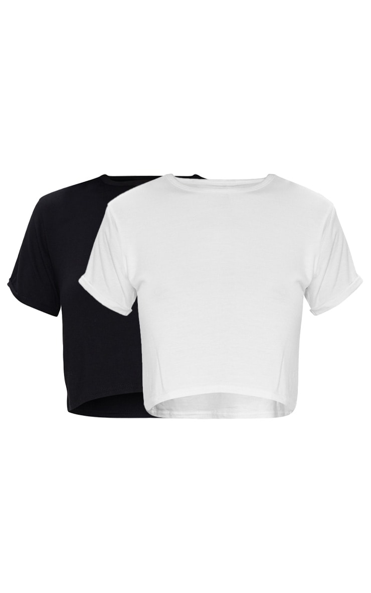 Basic Black & White 2 Pack Roll Sleeve Crop T Shirt 6