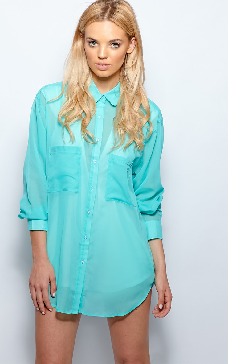 Esme Turquoise Sheer Oversized Shirt 1