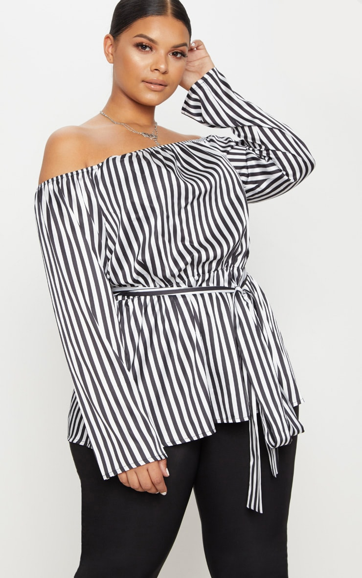 Plus Black Striped Bardot Tie Waist Blouse  1