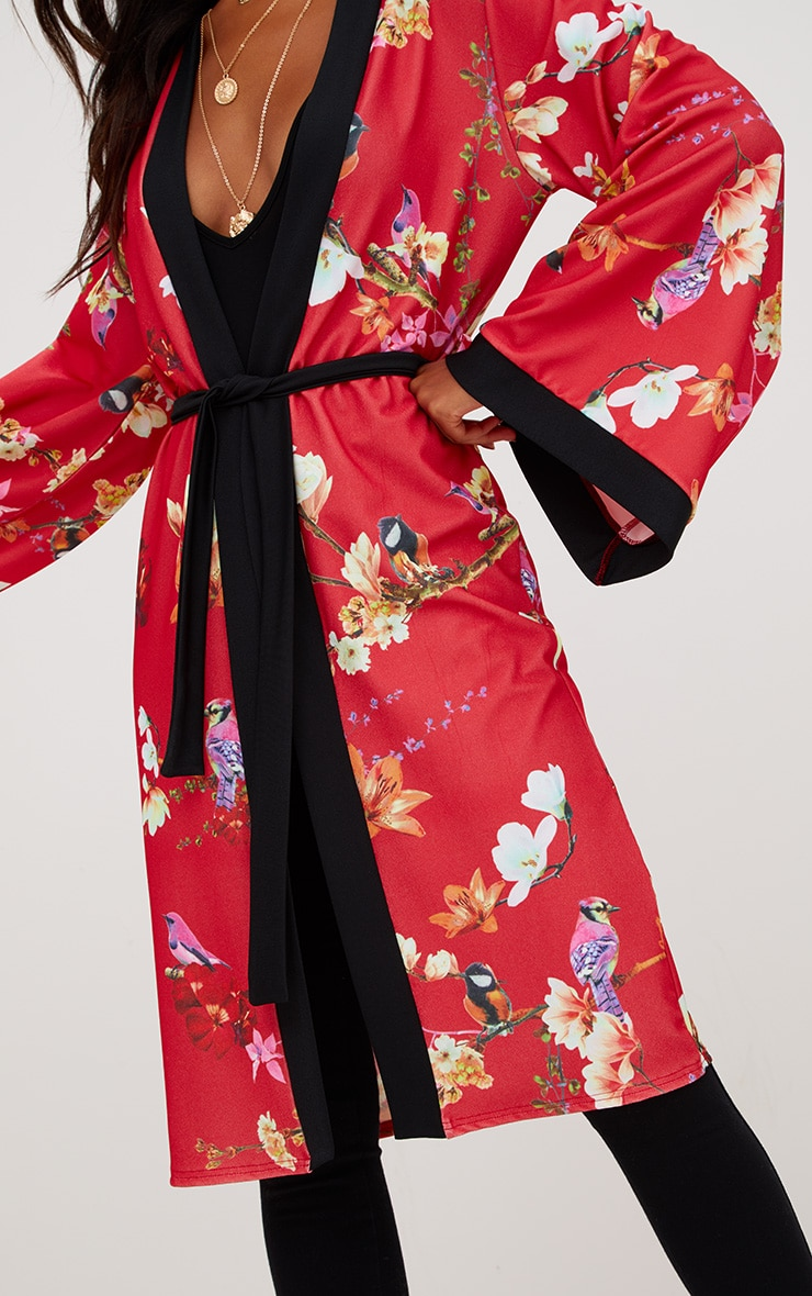 Red Oriental Belted Kimono Jacket 5