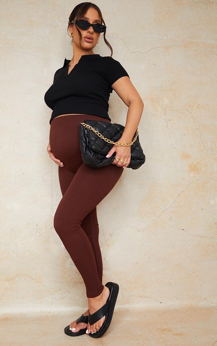 Maternity Dark Brown Contour Bump Support Ribbed Leggings 1