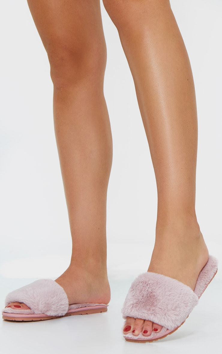 Pale Pink Fluffy Cross Strap Slider Slippers 1