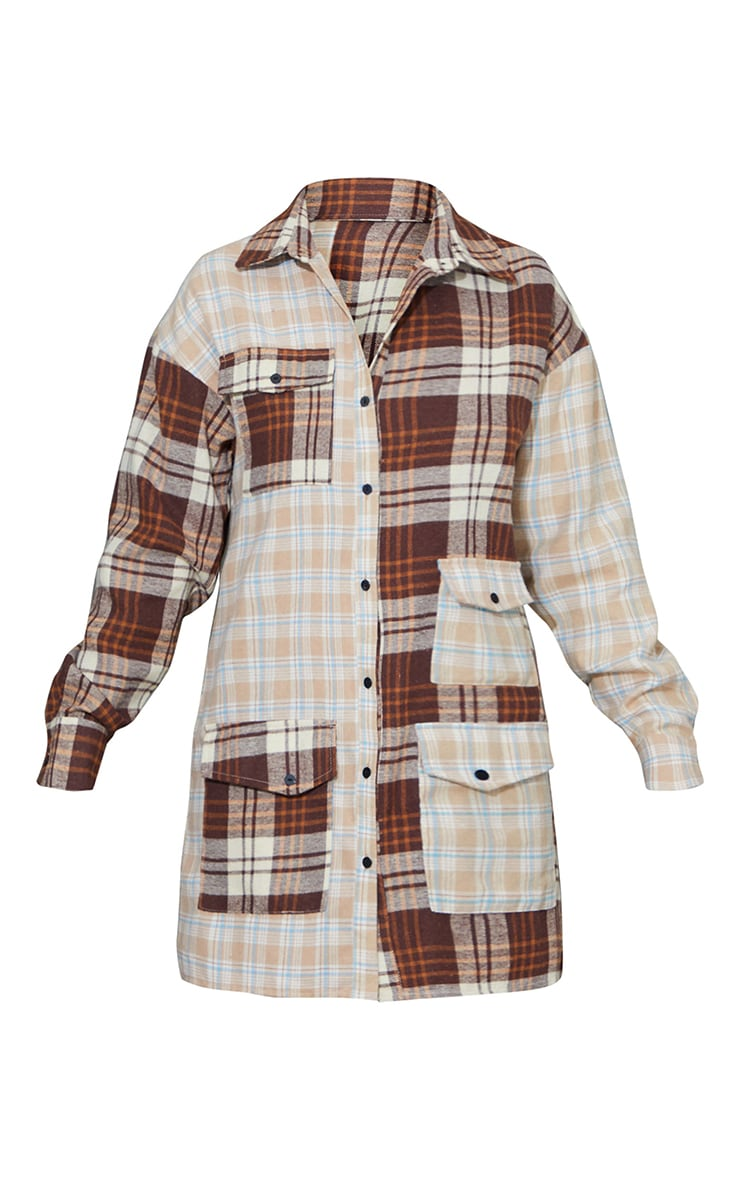 Stone Contrast Check Multi Pocket Detail Shirt Dress 5