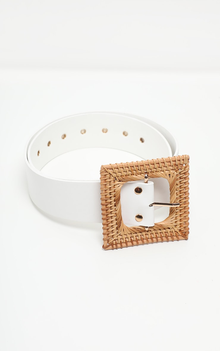 White Woven Square Straw Buckle Belt 4