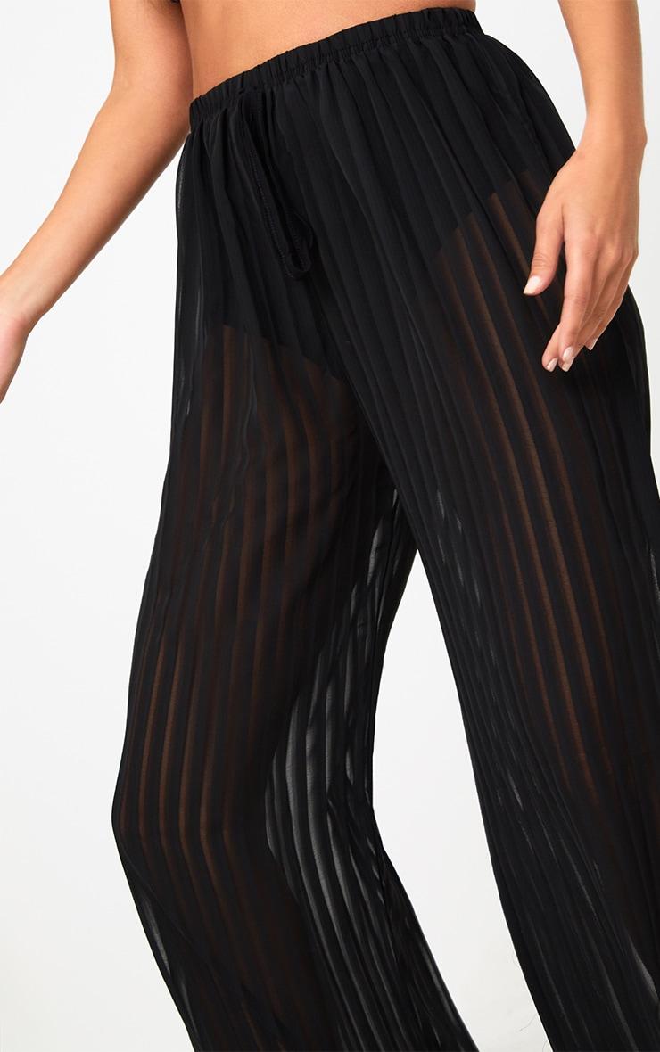 Black Stripe Chiffon Beach Trousers  4