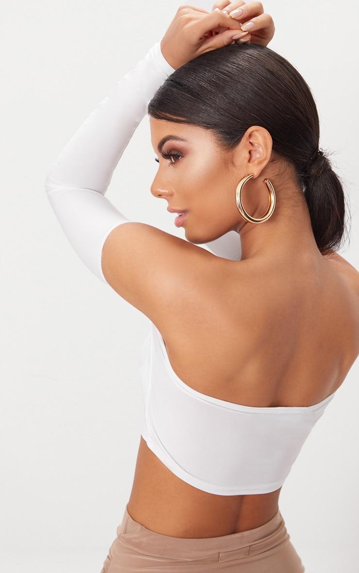 Top court bardot près du corps à manches longues blanc  2