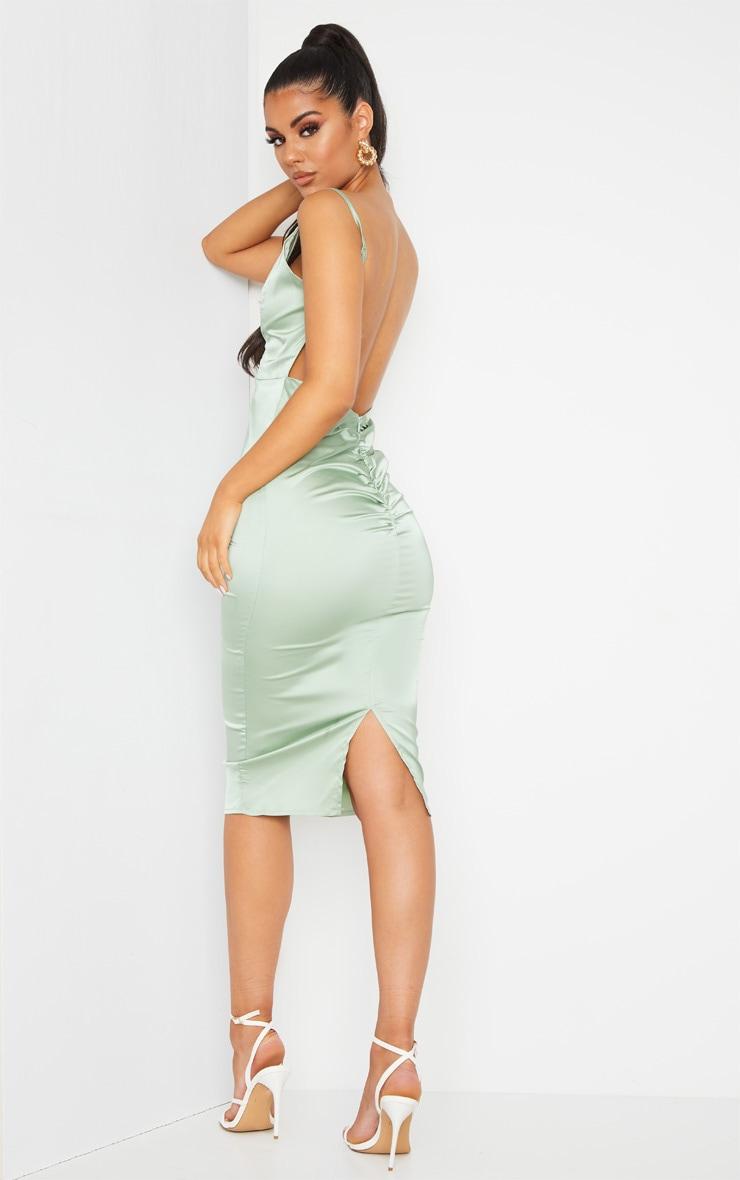 Sage Green Satin Plunge Ruched Bum Midi Dress 1