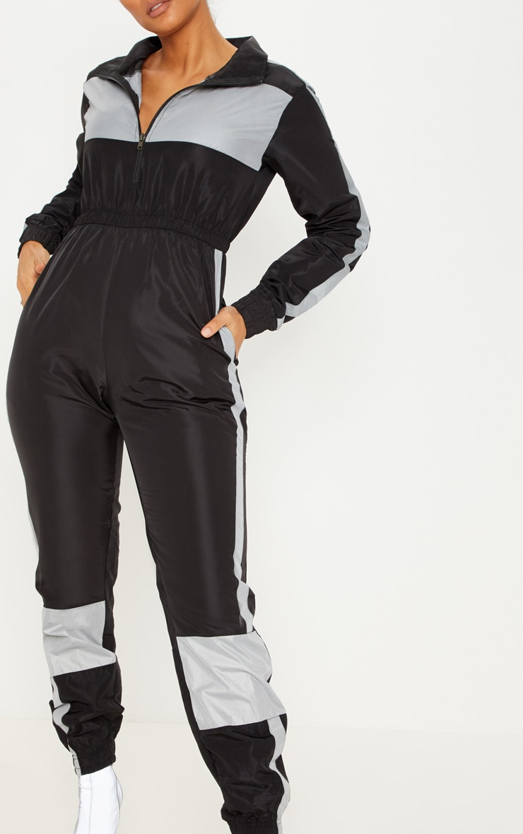 Black Shell Reflective Panelled Jumpsuit 5