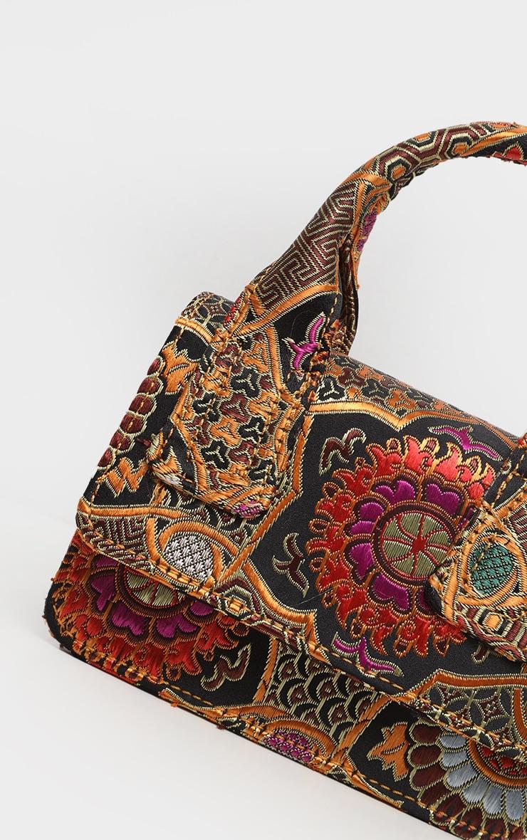 Gold Jacquard Mini Square Handle Bag 3