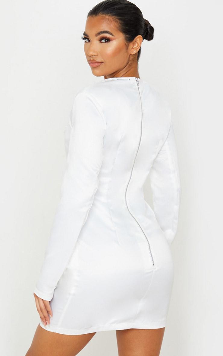 White Satin Hook & Eye Pocket Detail Bodycon Dress 2