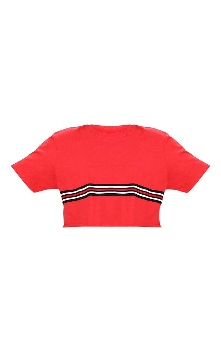 Red Sporty Tape Crop T Shirt  3