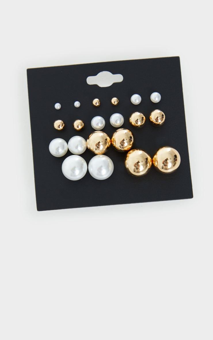 Gold And White Pearl Assorted Stud Earrings 3