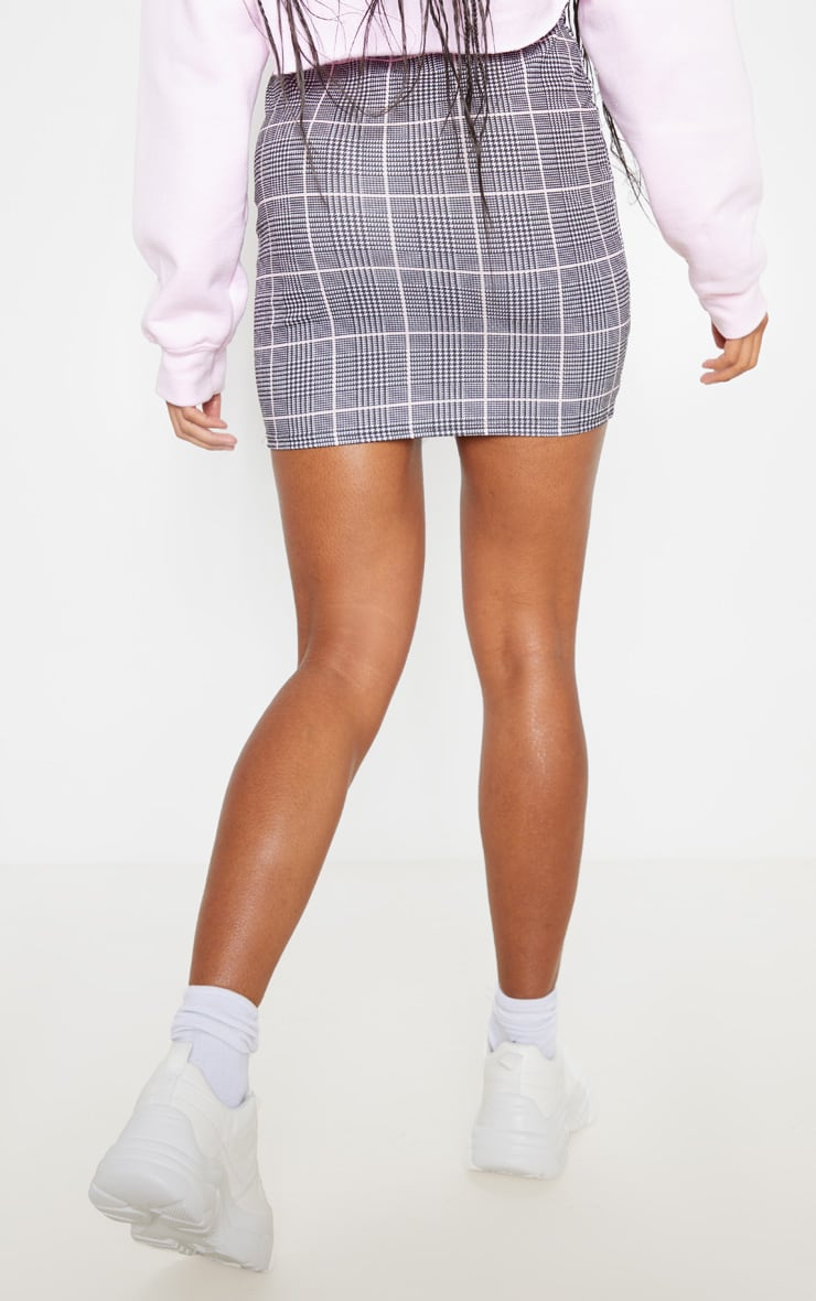 Grey Check Mini Skirt 4