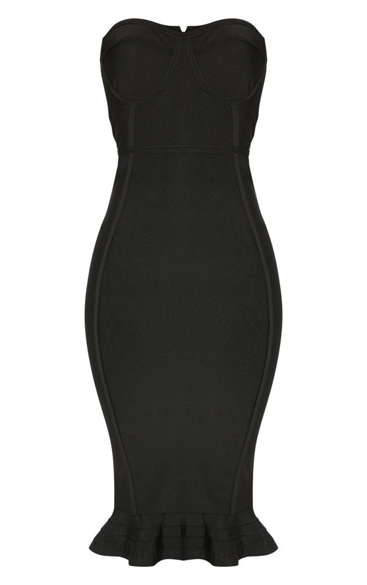 Black Frill Hem Bandage Midi Dress 3