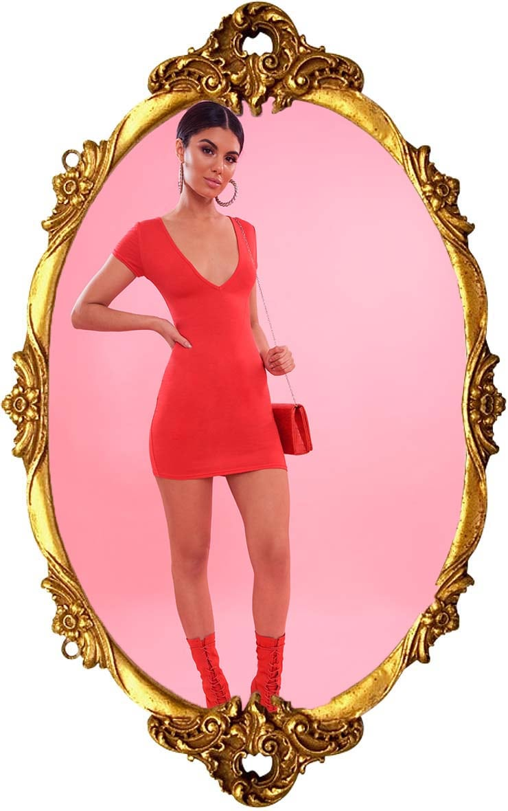 Red Plunge Front Cap Sleeve Bodycon Dress 1