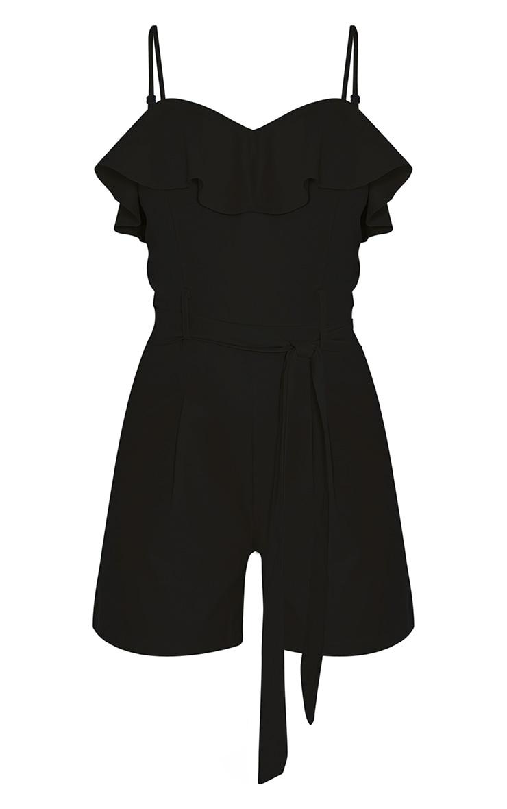 Fia Black Frill Detail Tie Waist Playsuit 3