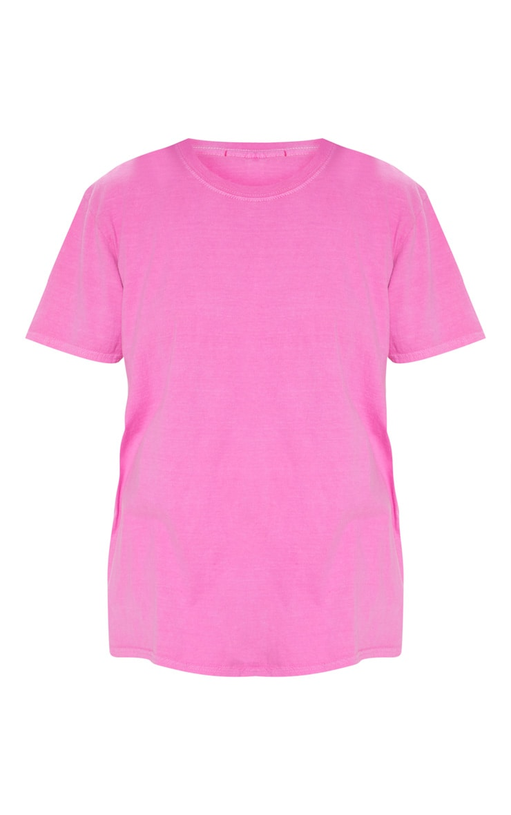 Neon Pink Washed Oversized T Shirt 3