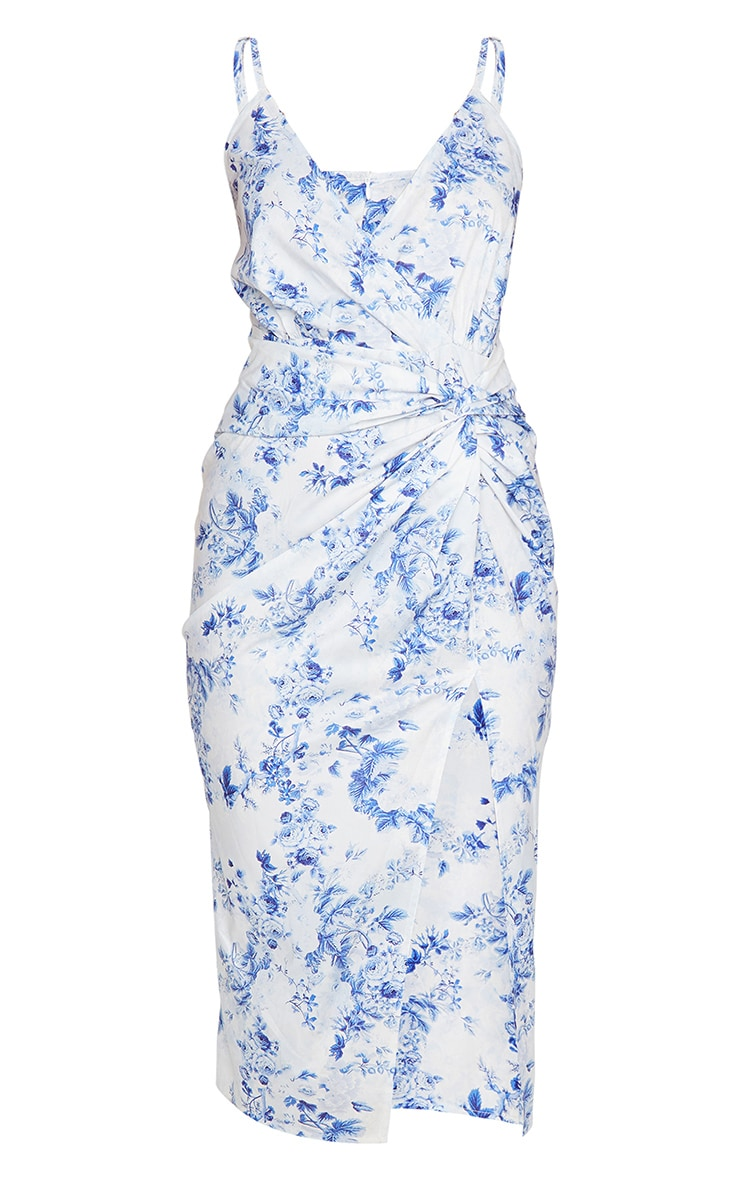 Blue Floral Print Twist Front Strappy Midi Dress 5