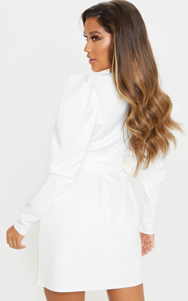 White Puff Sleeve Blazer Dress 2