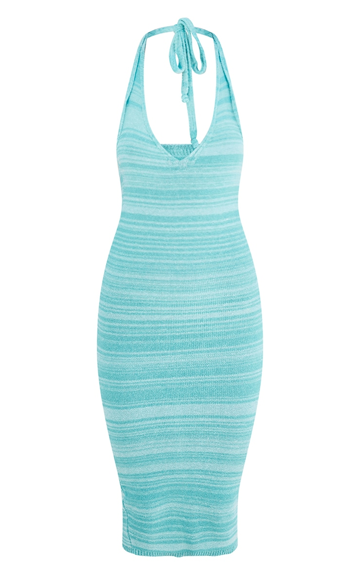Blue Knitted Two Tone Halter Neck Midi Dress 5