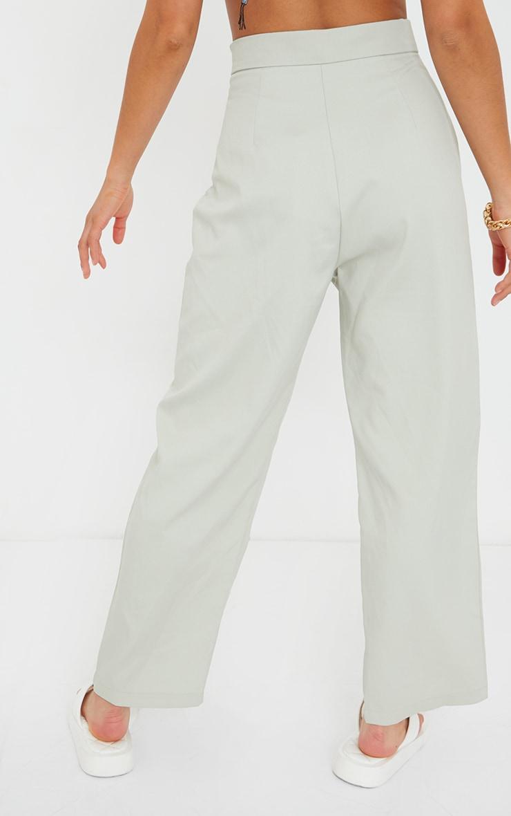 Petite Sage Green Split Hem Cigarette Trousers 3