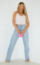 Pink Glitter Cowl Neck Crop Top 3