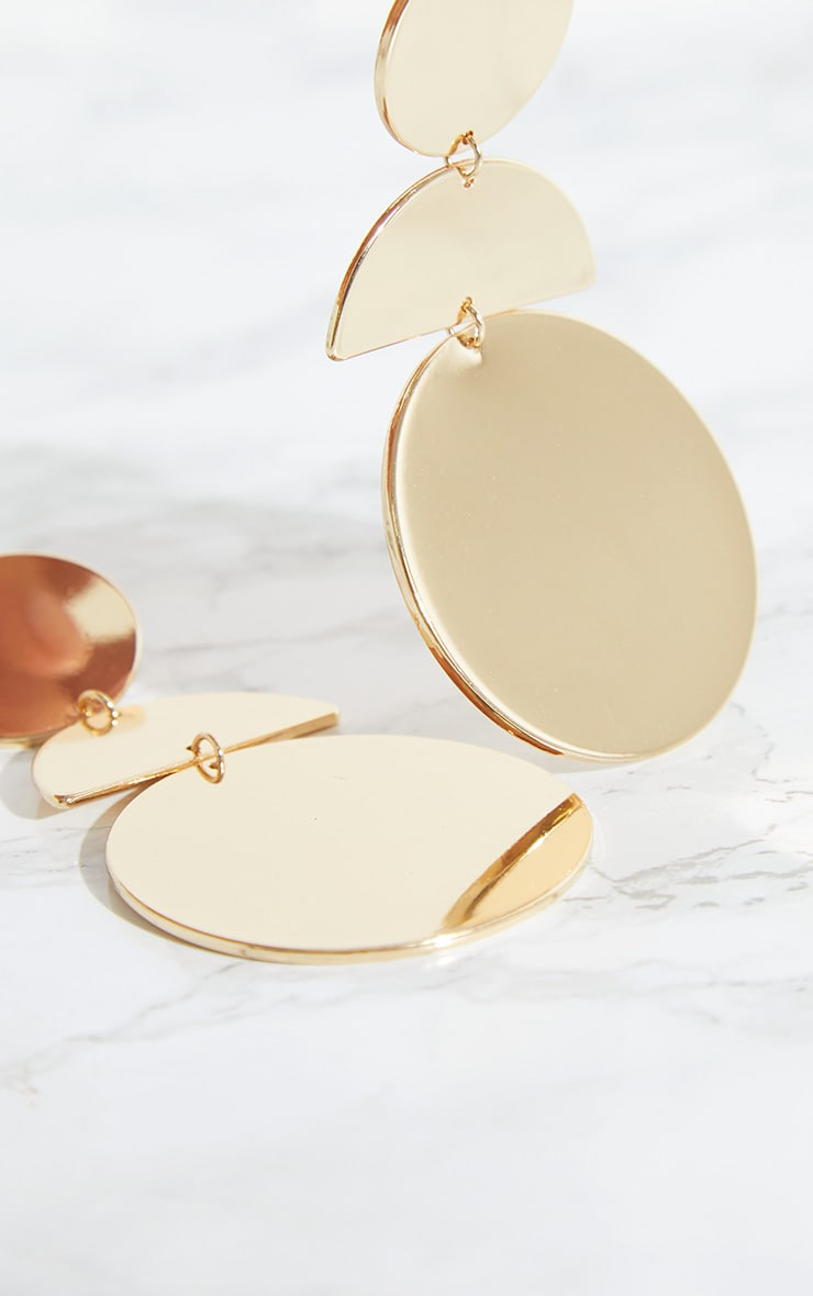 Gold Disk Drop Earrings 4