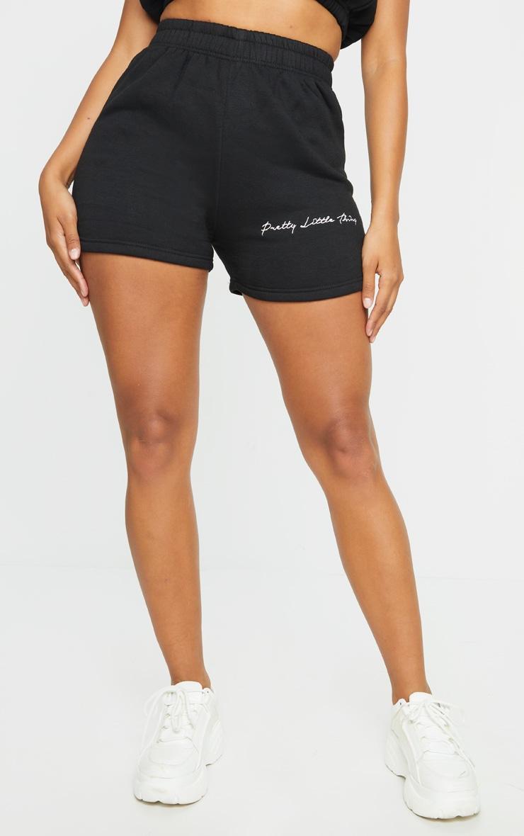 PRETTYLITTLETHING Shape Black Embroidered Sweat Shorts 2
