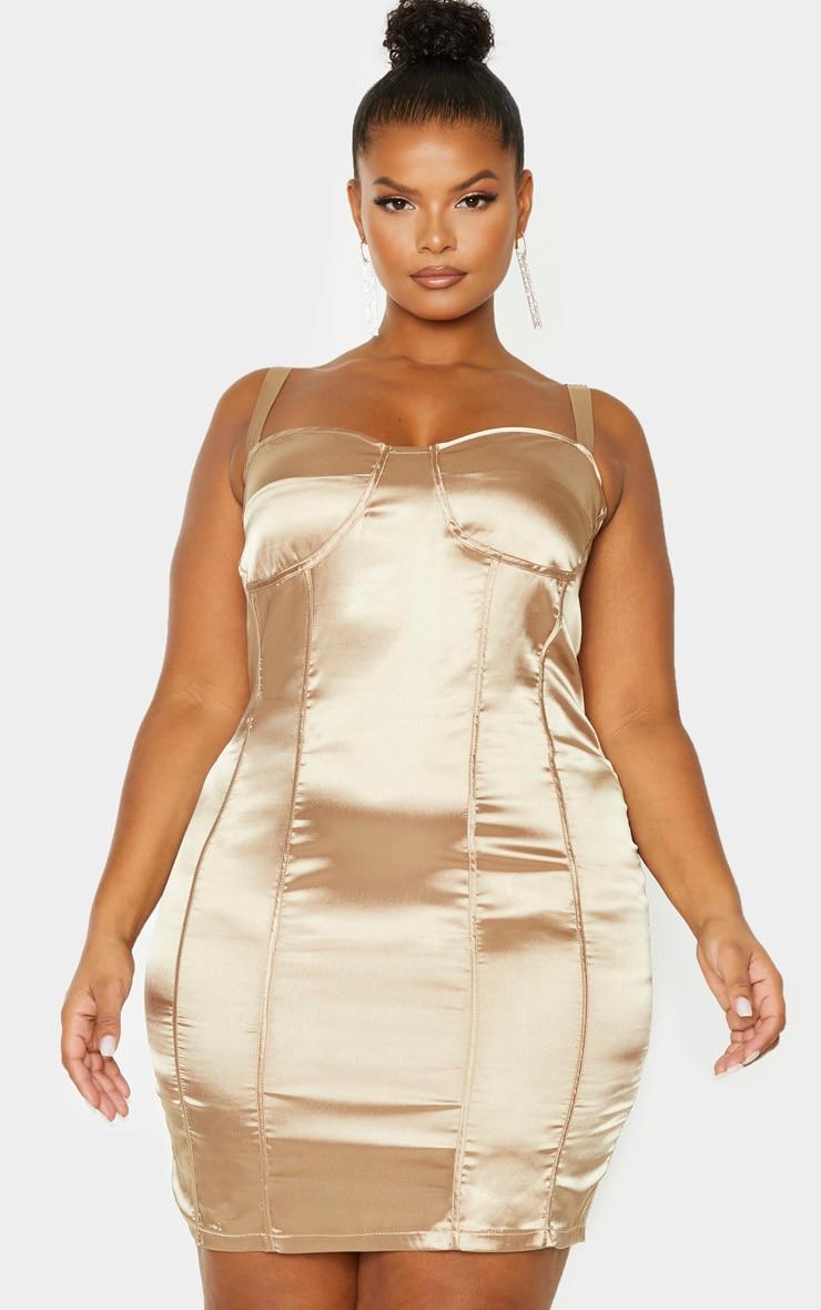 Plus Mocha Satin Corset Detail Bodycon Dress 1