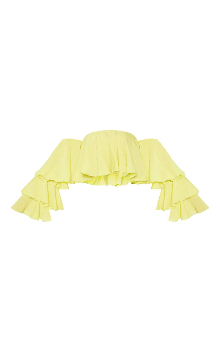 Lime Woven Bardot Tiered Sleeve Crop Top 3
