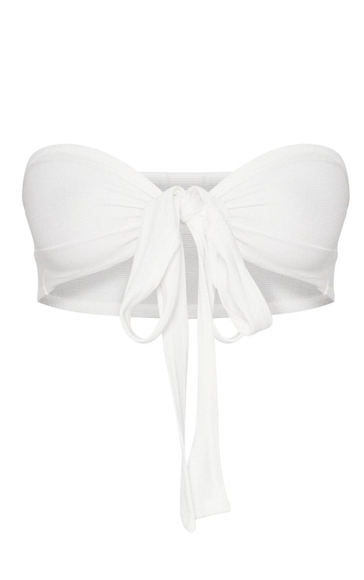 White Bandage Tie Front Bandeau Bralet 3