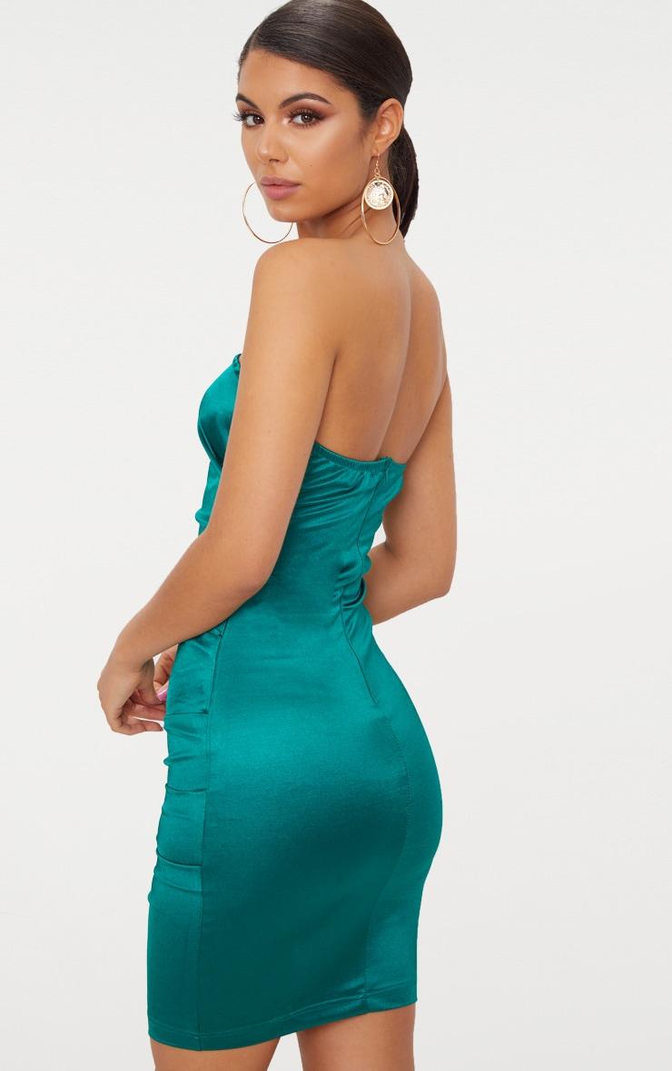 Emerald Green Bandeau Ruched Satin Bodycon Dress  2