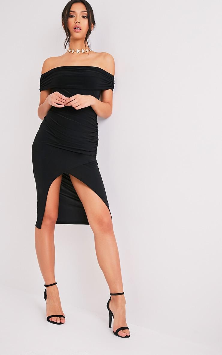 Briany Black Slinky Bardot Midi Dress 5