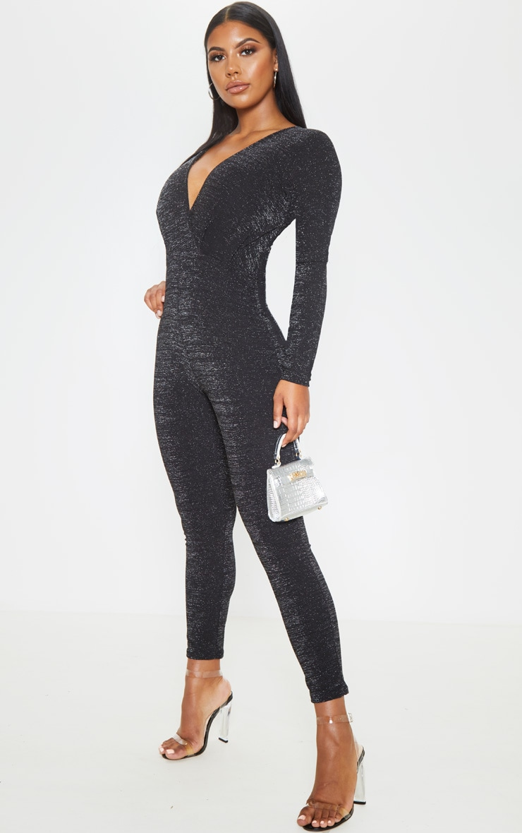 Black Glitter Plunge Long Sleeve Jumpsuit 4