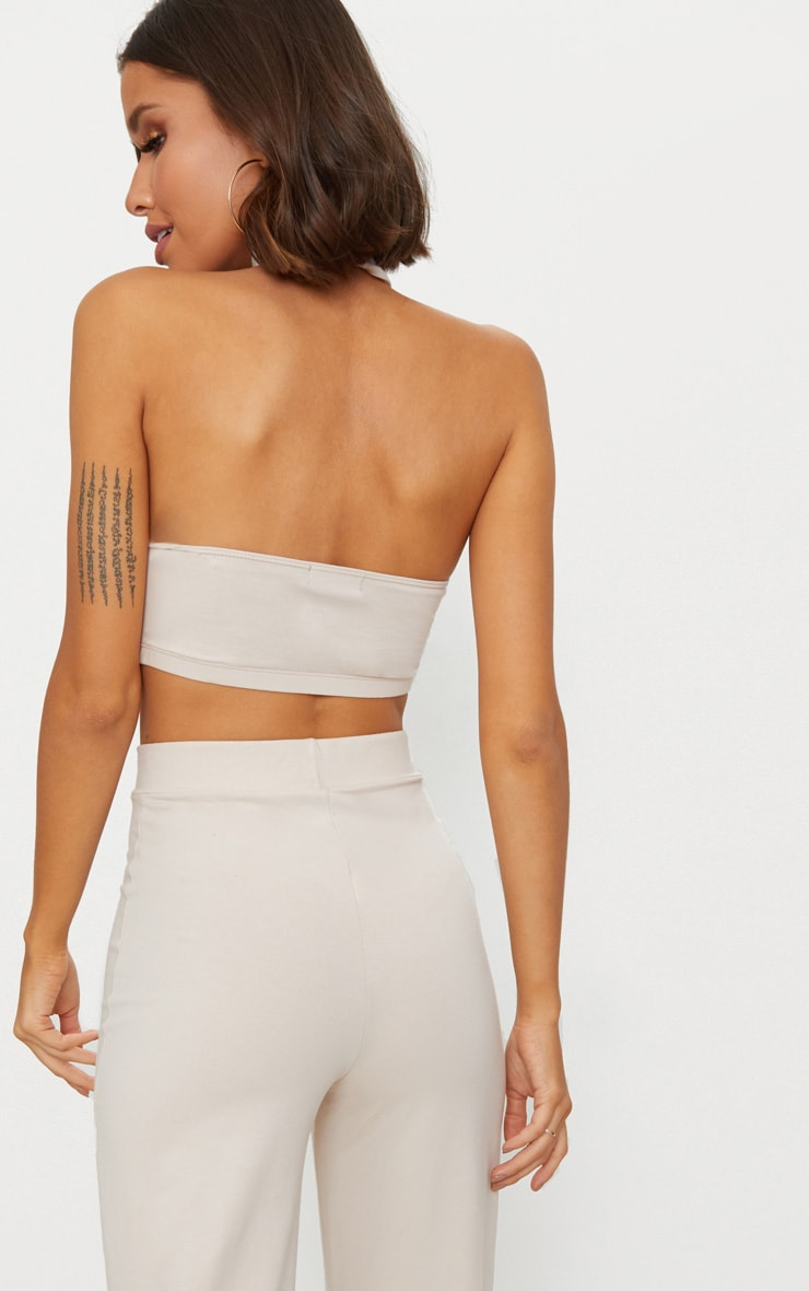 Cream Second Skin Halterneck Crop Top 2