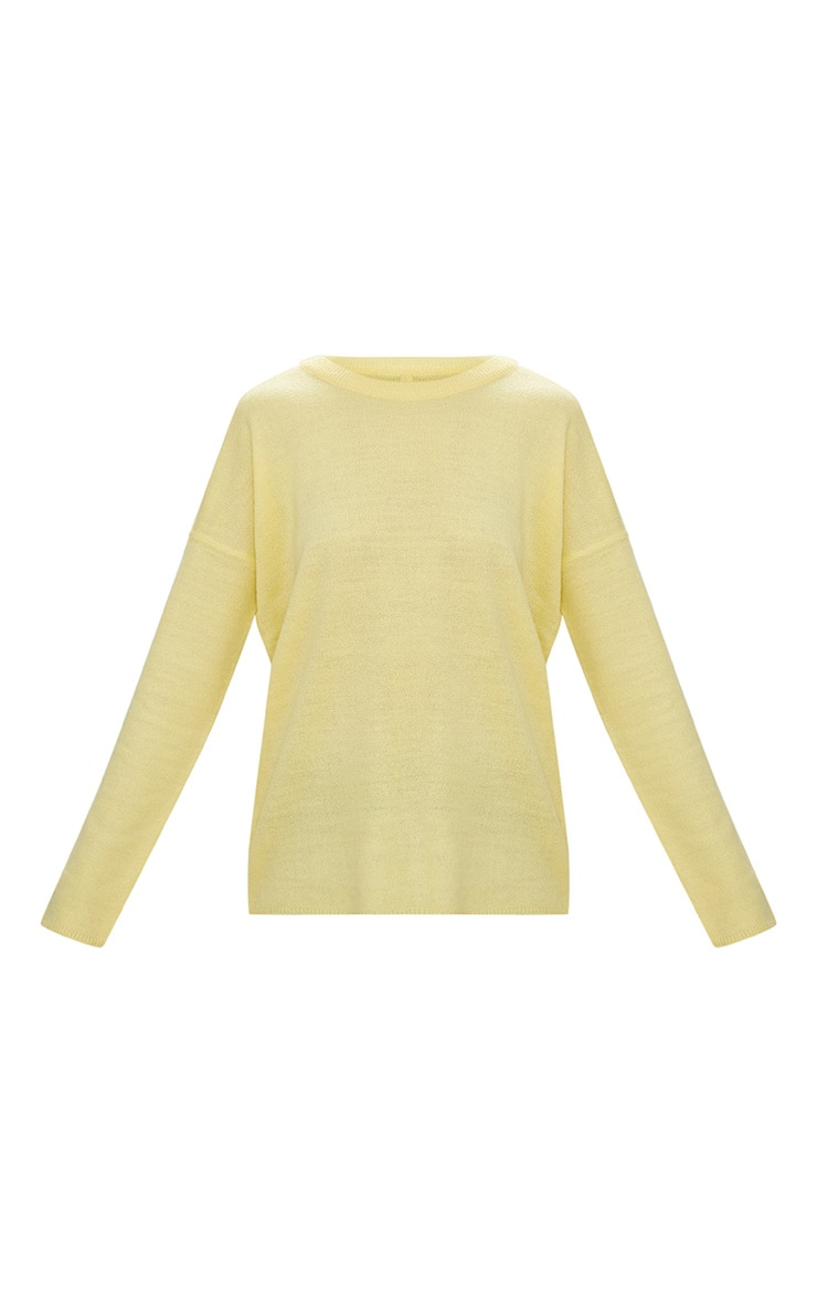 Yellow Lightweight Crew Neck Jumper 3