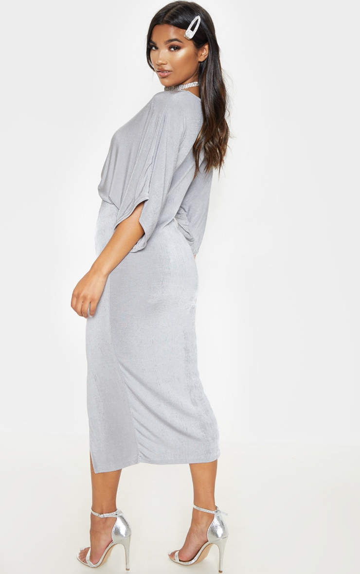 Ice Grey Slinky Twist Front Kimono Sleeve Midi Dress 2