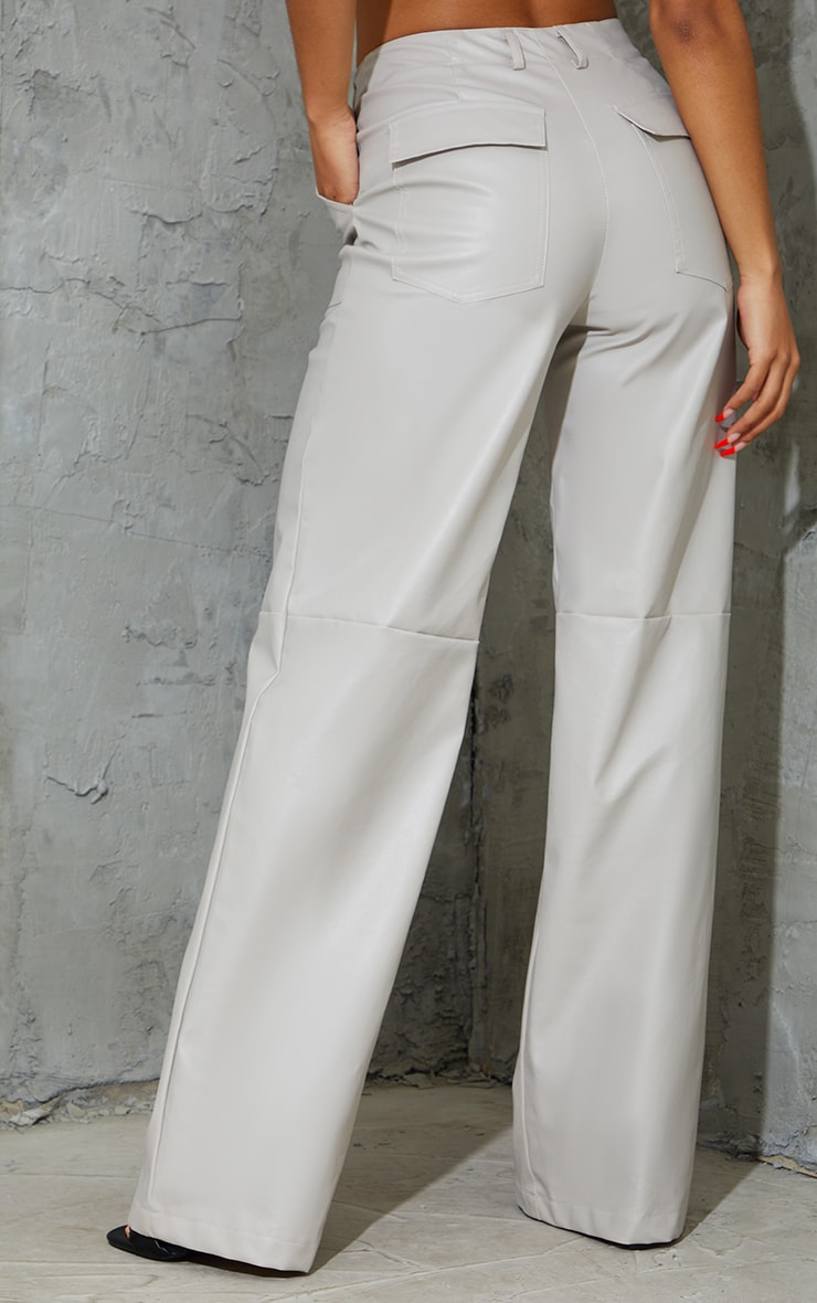 Stone Faux Leather Stitch Detail Wide Leg Trousers 3