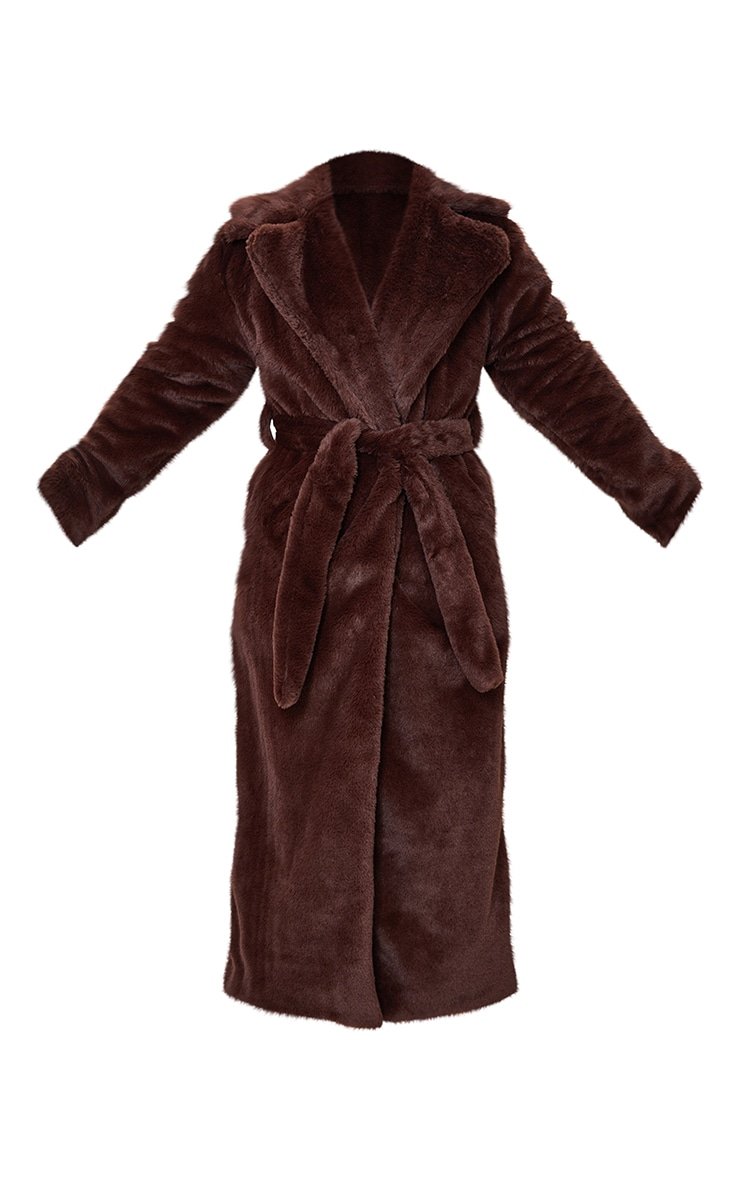 Tall Chocolate Belted Faux Fur Coat 5